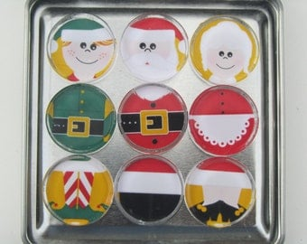 Holiday Decorations Fridge Magnets, Santa Claus, Mrs. Claus, Elf Xmas Magnets, Set of 9 Refrigerator Magnets & Storage Tin