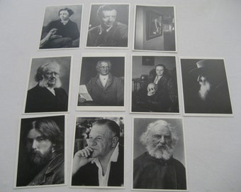 fifty black and white postcards of famous authors and artists