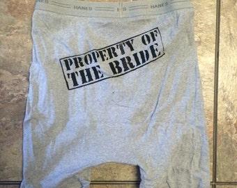 Ready to ship! Property of the Bride grey with black print only! S-XL sizes