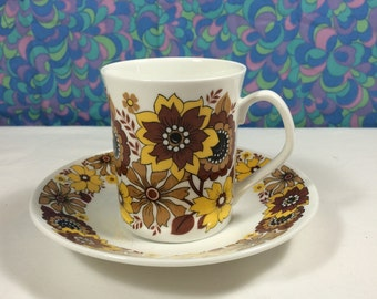 Vintage 60s Flower Power Elizabethan Chelsea China Cup & Saucer Yellow Brown