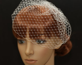 Birdcage Veil- 10 Inches Pouf Style Blusher- French Diamond Veiling on a Rhinestone Comb- Bridal Veils- Russian Net Veil- Blusher