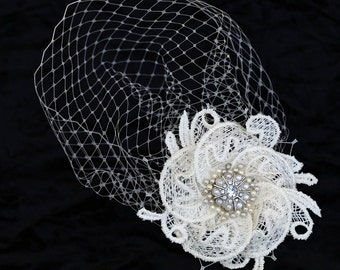Veil And Flower Set, Ivory Pouf Style Veil 6 Inches Net And Detachable Side Flower, Wedding Fascinator Headpiece
