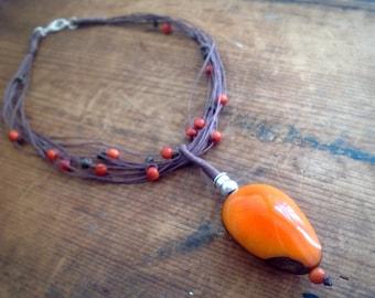 Orange Tagua Nut Pendant, Tagua Nut Necklace, Linen Jewelry, Boho Necklace, Natural Necklace, Tagua Jewelry