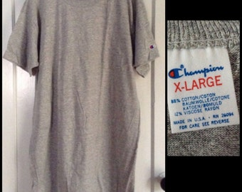 Vintage Deadstock 1980's Champion Plain Heather Gray 88/12 cotton rayon T-shirt size XL 22x33 NOS