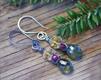 Wire Wrapped Moss Aquamarine, Ruby, and Citrine Gemstone Earrings in Oxidized Sterling Silver