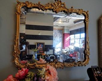 Large ornate mirror gold vintage antique floral scroll gilt
