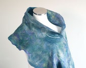 Hand felted scarf wrap in blue, purple, green