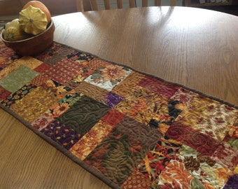 Autumn Hodge Podge 13x51 quilted table runneer