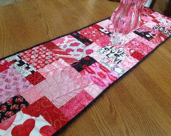 Valentine Hodge Podge 13 x 52 quilted table runner