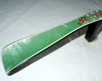 Vintage celluloid Shoe shoehorn with handpainted flowers and rhinestones