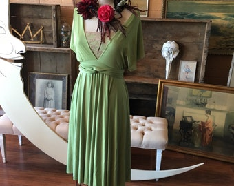 "Ready to Ship- Standard 28"" Short Fern Green Satin-Octopus Convertible Wrap Dress- bridesmaids, wedding, etc."