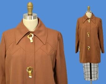 70s coat lightweight jacket car coat outerwear 1970s large grommets L brown cocoa IngridIceland indie hipster grunge