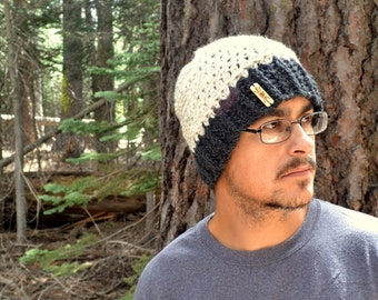 Crochet Beanie Hat - Wool Blend Winter Hat - Fitted Skullcap - Mens Womens Color Block Hat - Large - More Color Options