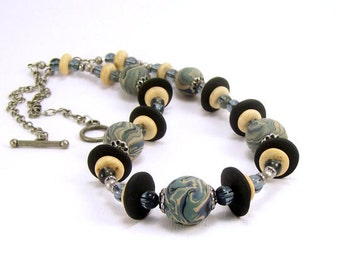 Eclectic Polymer Clay Beaded Necklace, Slate Blue, Handmade