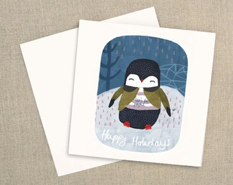 Square Greeting Card - Happy Holidays Christmas Card, Penguin Greeting Card, Penguin Christmas Greeting Card