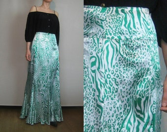 80 EMERALD TIGER + LEOPARD Print Vintage High Waist White Green Metallic Fluted Maxi Skirt Small Medium 1980s