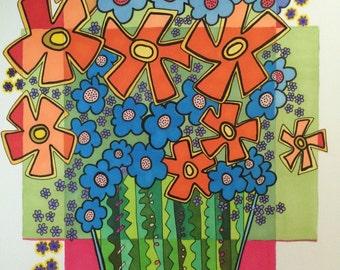 Flower Art, original ink drawing, abstract flowers, flower wall art, art gift, unframed flower art, fun flowers,