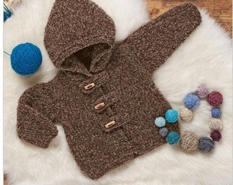 Knitting Pattern Baby Cardigan with Hood Instant Download Knitting Pattern  Knitted Baby Sweater Easy Pattern PDF Pattern