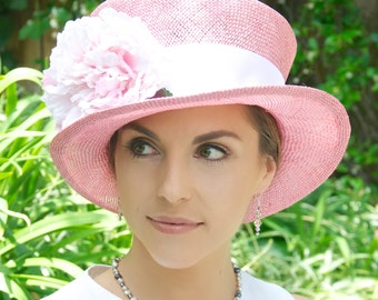 Wedding hat, Kentucky Derby Hat, Women's Pink and White Hat, Church hat, Formal Hat, Ascot Hat, Pink Flowers, Dressy Hat, Special Event hat