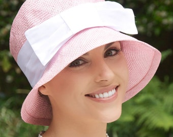 Wedding Hat, Pink Cloche, Women's Formal Straw Hat, Church hat, Women's Pink Summer hat, Garden Party Hat, Tea Party Hat, Fancy hat, Bows,