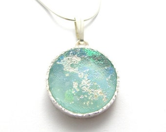 Stunning  925 Silver  Set with Mix Green Bluish  Roman Glass Pendant Necklace
