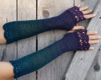 Midnight Laguna - Extra Long Elegant Crochet Fingerless Gloves in deep turquoise, teal and purple