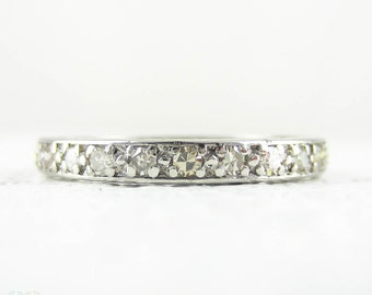 Art Deco Diamond & Platinum Wedding Ring. Full Hoop Diamond Eternity Ring with Engraved Sides. Circa 1920s, Size O / 7.25.