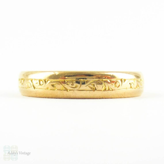 deco 22 carat gold engraved wedding ring by addy