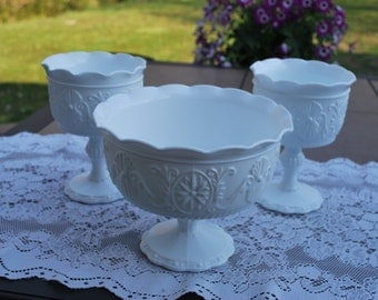 Vintage Trio of Gorgeous EO Brody Sandwich Milk Glass Footed Compotes, Wedding Table Decor.