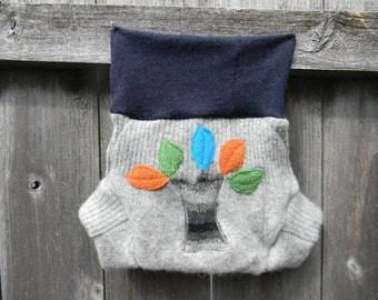 Upcycled  Wool Soaker Cover Diaper Cover With Added Doubler Gray With a Pattern /Navy Blue With Tree Applique MEDIUM 6-12M Kidsgogreen