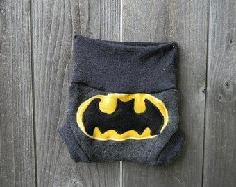 Upcycled Merino Wool Soaker Cover Diaper Cover With Added Doubler Charcoal Gray With Batman  Applique NEWBORN 0-3M Kidsgogreen
