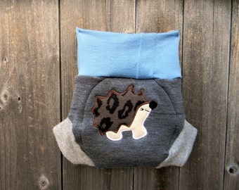 Upcycled Wool /Cashmere Diaper Cover Soaker Cover With Added Doubler Blue / Gray With Hedgehog Applique MEDIUM 6-12M Kidsgogreen