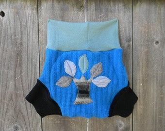 Upcycled  Wool Soaker Cover Diaper Cover With Added Doubler Seafoam Green / Turquoise/ Black Color With Tree Applique LARGE 12-24M