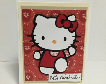 Let's celebrate kitty greeting card