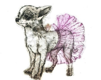 Etching / limited edition original etching (printmaking / graphic art) / original print / original art / dog etching - 'Dog with a Tutu'