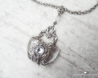 Mystical Moon Goddess .:. Art Nouveau Aged Silver necklace with vintage glass and swarovski
