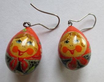 HANDMADE RUSSIAN Earrings - Handprinted- custom