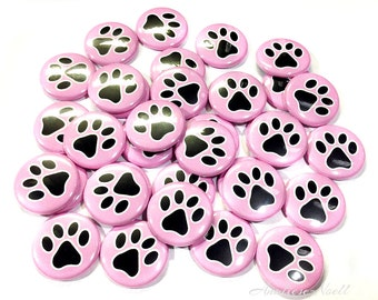 "Pink and Black Paw Print, 1"" Buttons, Paw Print Pins, Paw Print Party, Paw Print Flatbacks, Pink Paw Prints, Paw Print Party Favors, Paws"