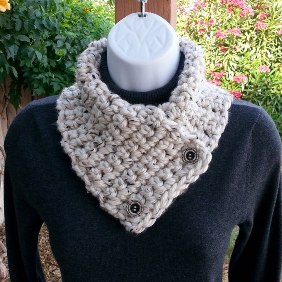 NECK WARMER SCARF Small Crochet Knit Buttoned Cowl with