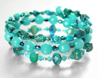 Blue Turquoise Bracelet Boho Jewelry Multi Strand Bracelet Blue Stone Beaded Bracelet Blue Bohemian Glass Wrap Around Memory Wire Bracelet