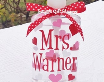 Valentine's Day Gift, Personalized Hand Sanitizer,Hearts, Teacher Gift, Coach, Nurse, Adults, Teens, Gifts, Stocking Stuffer