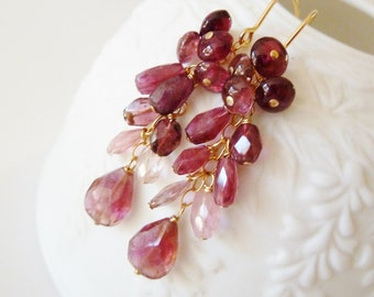 Pink Tourmaline 14k GF earrings. October Birthstone earrings. Drop earrings. Gemstone cascade . Gift for her. Ready to ship. Gifts for Libra