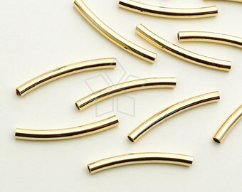 ME-253-GD / 6 Pcs - Curved Tube(for 2mm Cord), Gold Plated Brass / 25mm