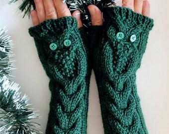 Dark Green Owl Gloves, Long Hand Knitted Cable Pattern Fingerless Gloves, Gift for her
