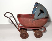 Metal Baby Carriage Red and Blue Toys and Games Toys Dolls and Action Figure Accessories Doll Buggies