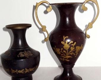Brass with a Patina Set of 2 Flower Vases Flower Motif Home and Garden Decor Vases Flower Vases