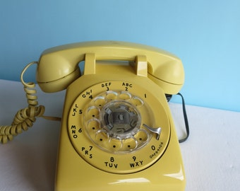 Vintage Yellow Rotary Dial Telephone -Western Electric - Working Telephone