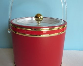 Vintage Georges Briard Red Ice Bucket with Gold Bands - Lucite Handle and Lid - MCM Red Ice Server - Mod Barware