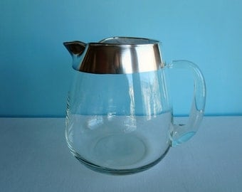 Dorothy Thorpe Silver Band Crystal Glass 64 Oz Pitcher - Sterling Silver Rim - Ice Lip