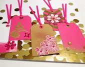 EMBELLISHED GIFT TAGS - Set of 5 Large Tags in pink, white, Kraft brown, and gold foil